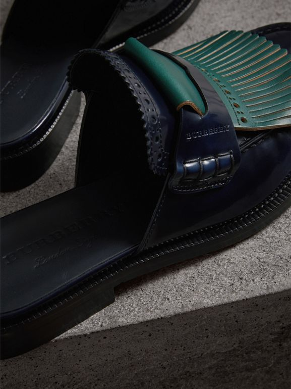 Contrast Kiltie Fringe Leather Mules in Navy - Women | Burberry Canada - cell image 1