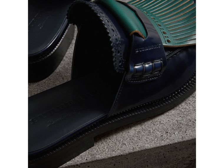 Contrast Kiltie Fringe Leather Mules in Navy - Women | Burberry - cell image 1