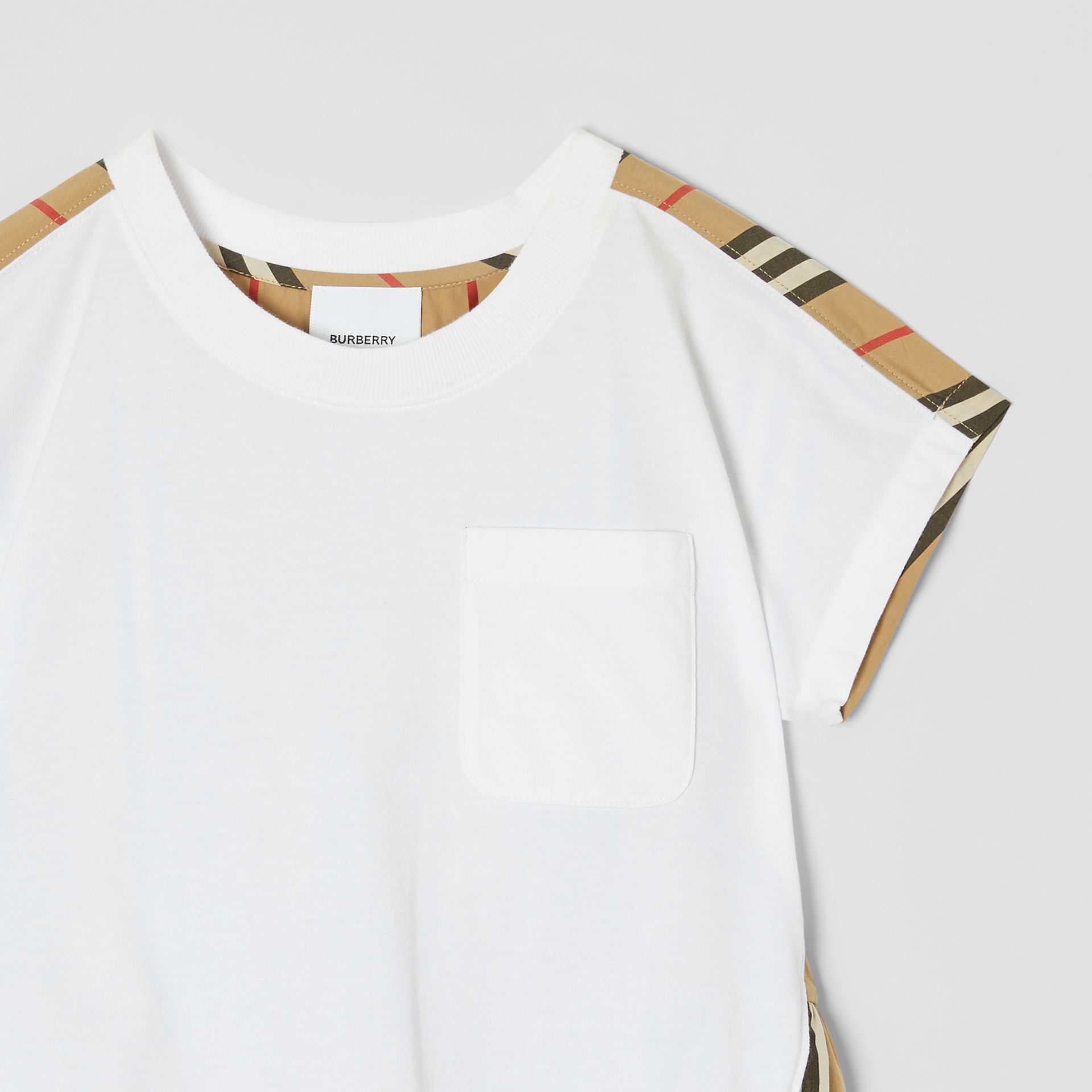 Icon Stripe Panel Cotton T-shirt in White | Burberry - gallery image 4