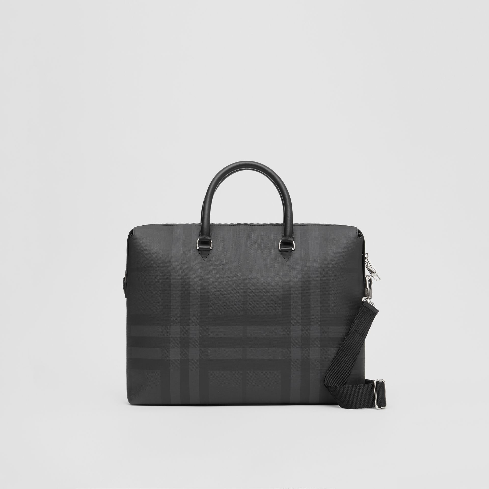 Large London Check and Leather Briefcase in Dark Charcoal - Men | Burberry - gallery image 0