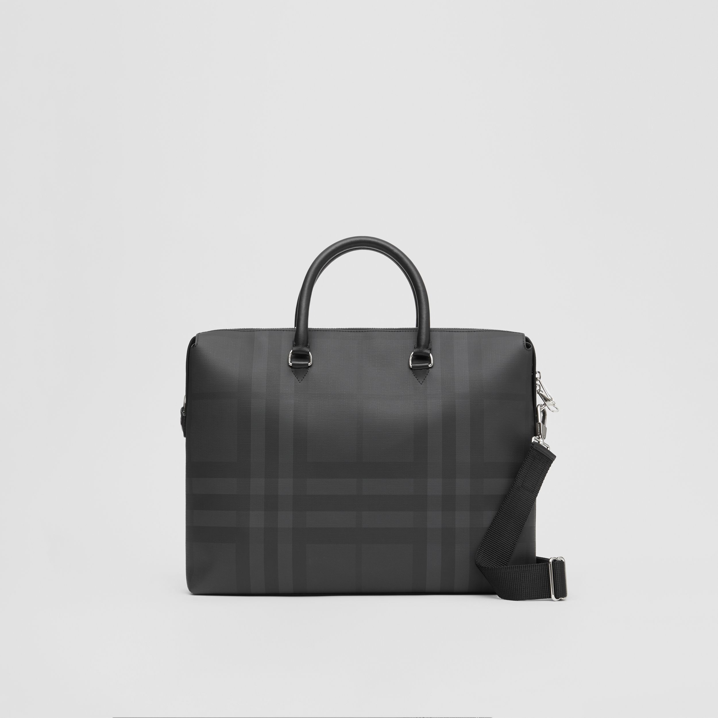 Large London Check and Leather Briefcase in Dark Charcoal - Men | Burberry United States - 1