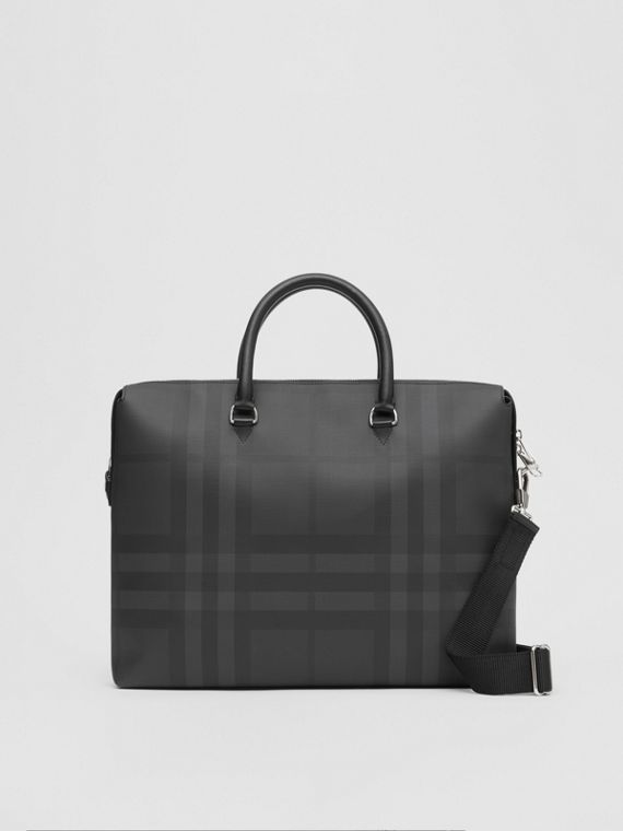 Large London Check and Leather Briefcase in Dark Charcoal