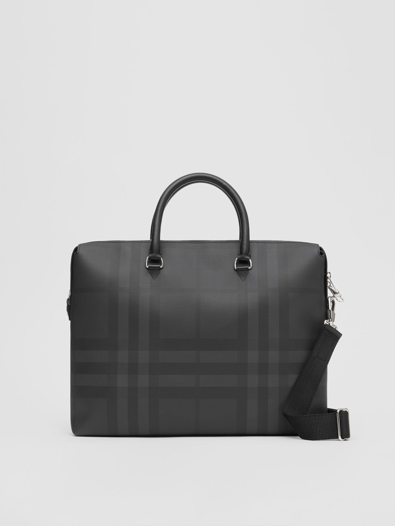 Large London Check and Leather Briefcase (Dark Charcoal)