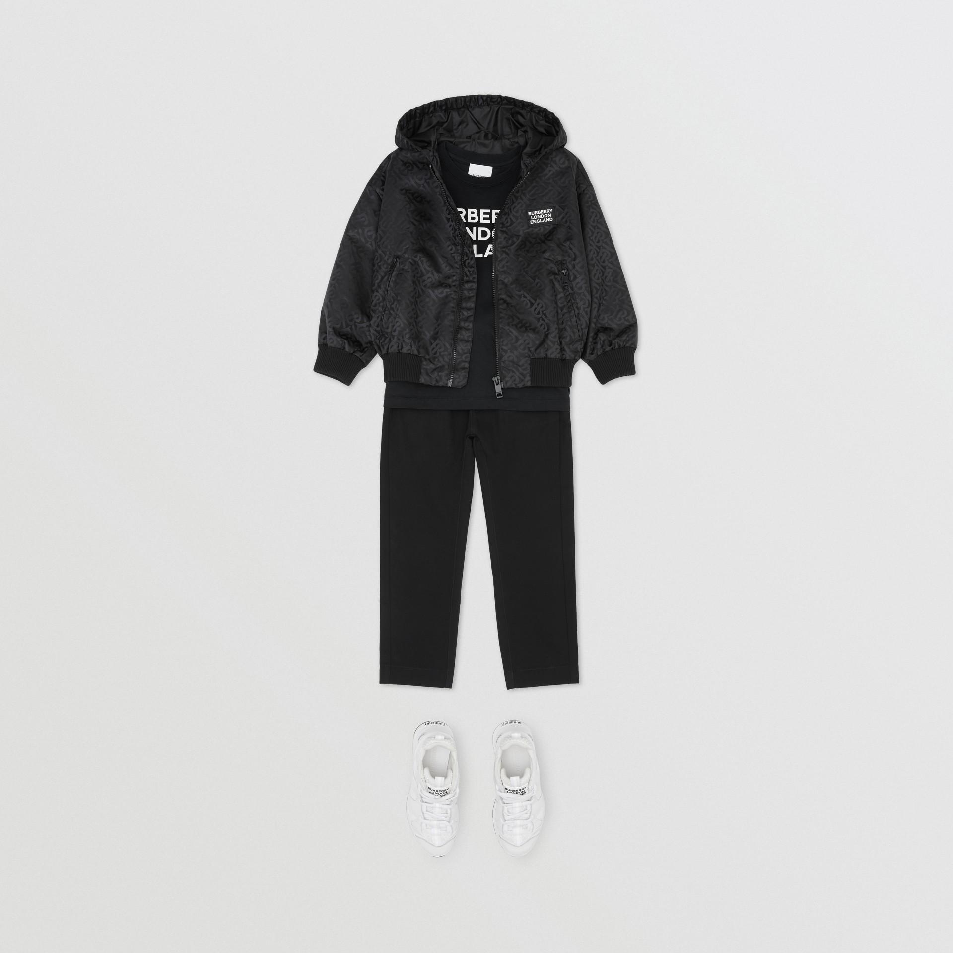 Monogram ECONYL® Hooded Jacket in Black | Burberry United Kingdom - gallery image 2