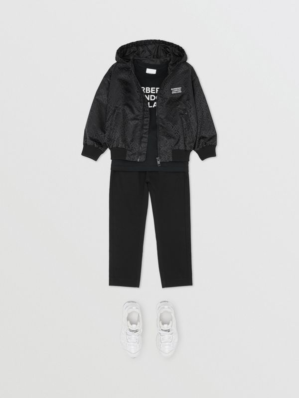 Monogram ECONYL® Hooded Jacket in Black | Burberry United Kingdom - cell image 2