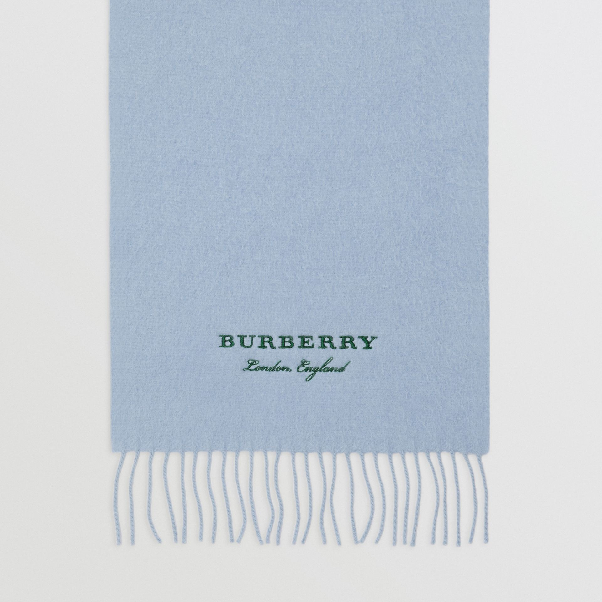 Embroidered Cashmere Fleece Scarf in Pale Powder Blue | Burberry United Kingdom - gallery image 4