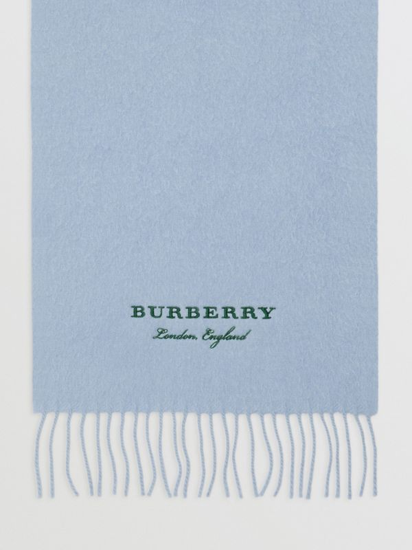 Embroidered Cashmere Fleece Scarf in Pale Powder Blue | Burberry - cell image 2