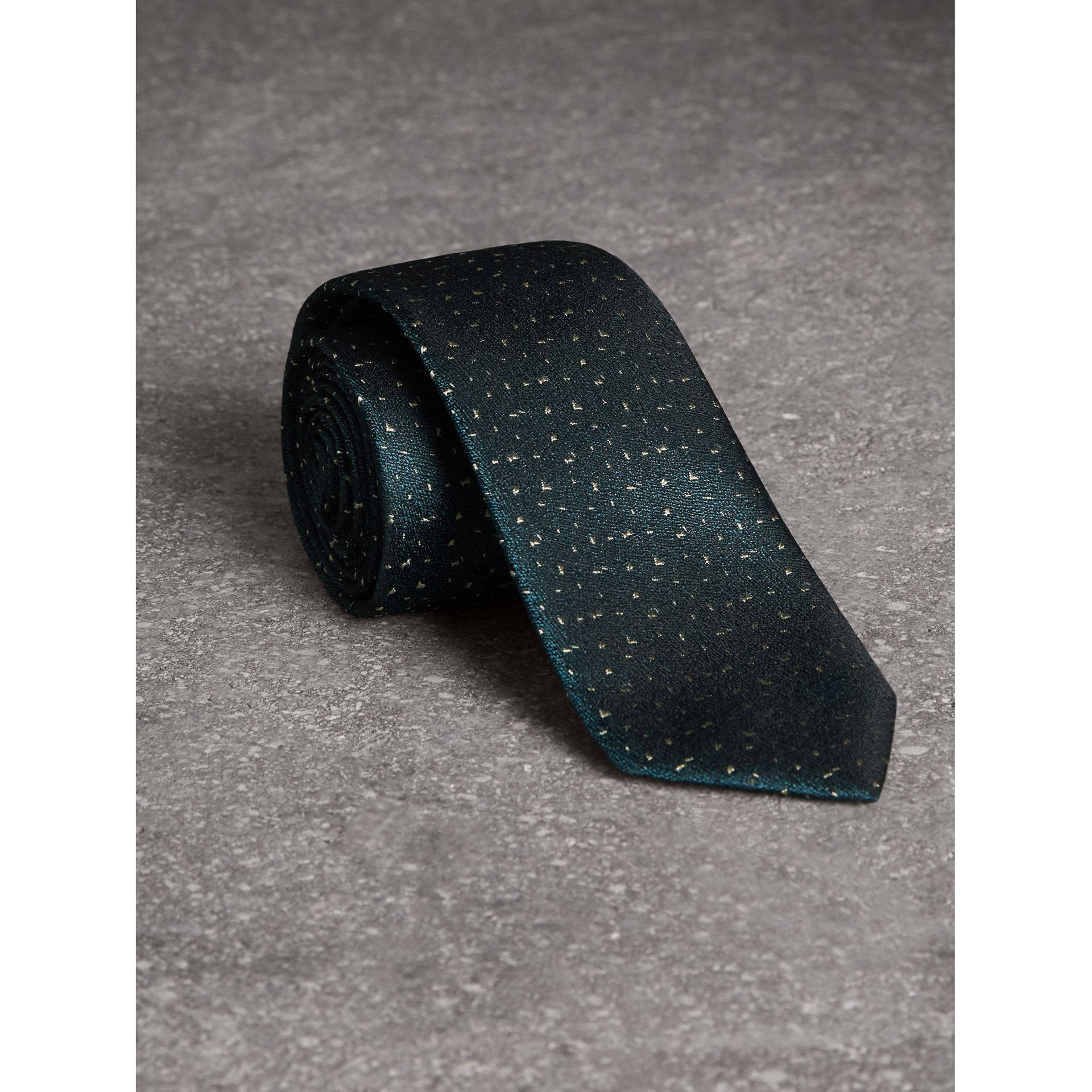 Slim Cut Flecked Silk Tie in Dark Forest Green - Men | Burberry - gallery image 0