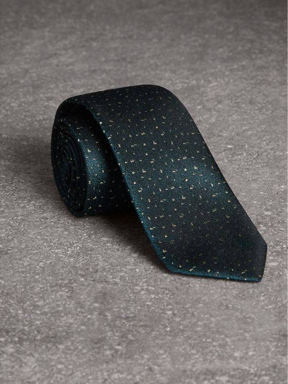 Slim Cut Flecked Silk Tie in Dark Forest Green