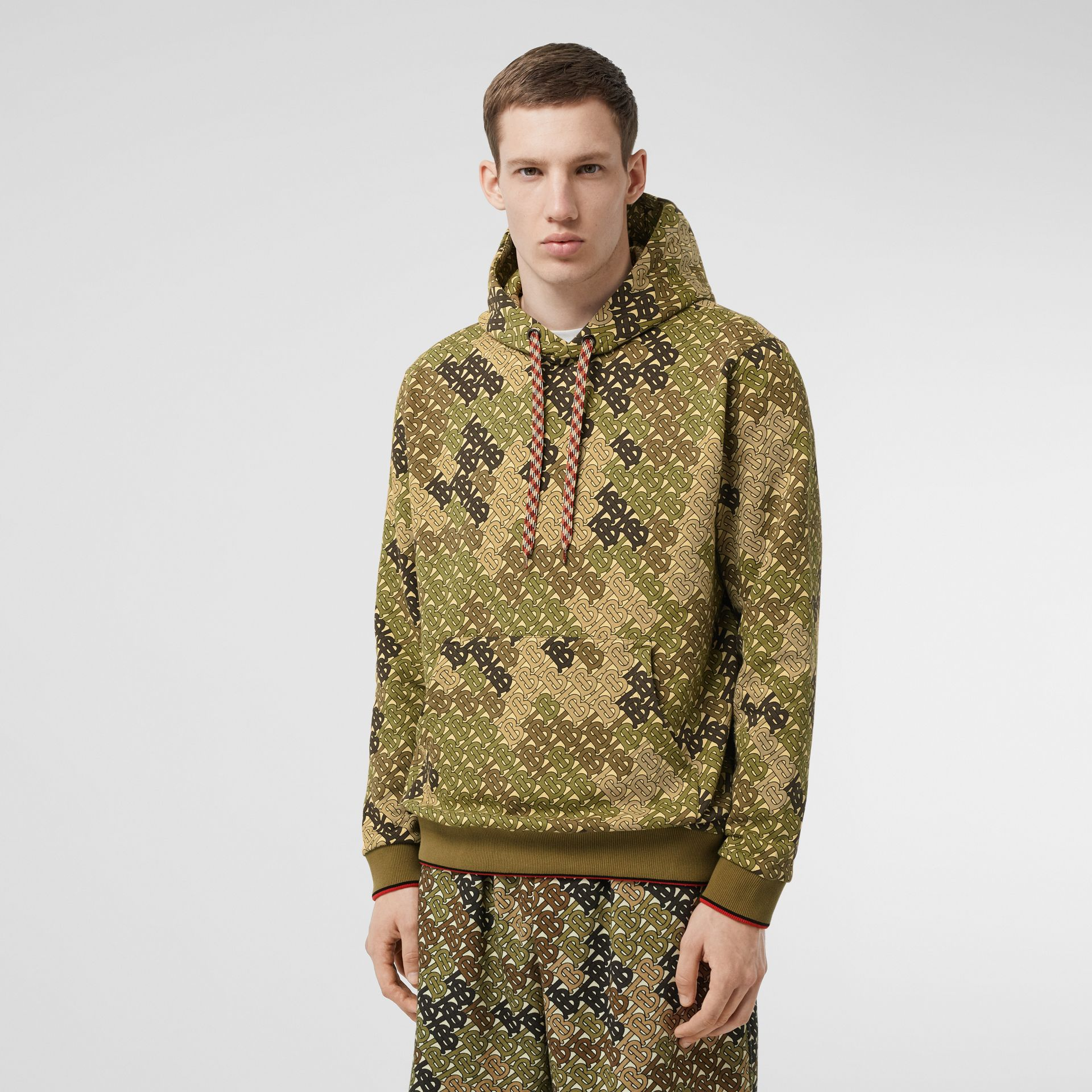 Monogram Print Cotton Hoodie in Khaki Green - Men | Burberry - gallery image 0