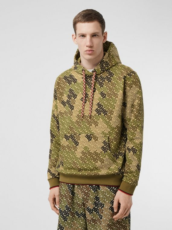 Monogram Print Cotton Hoodie in Khaki Green