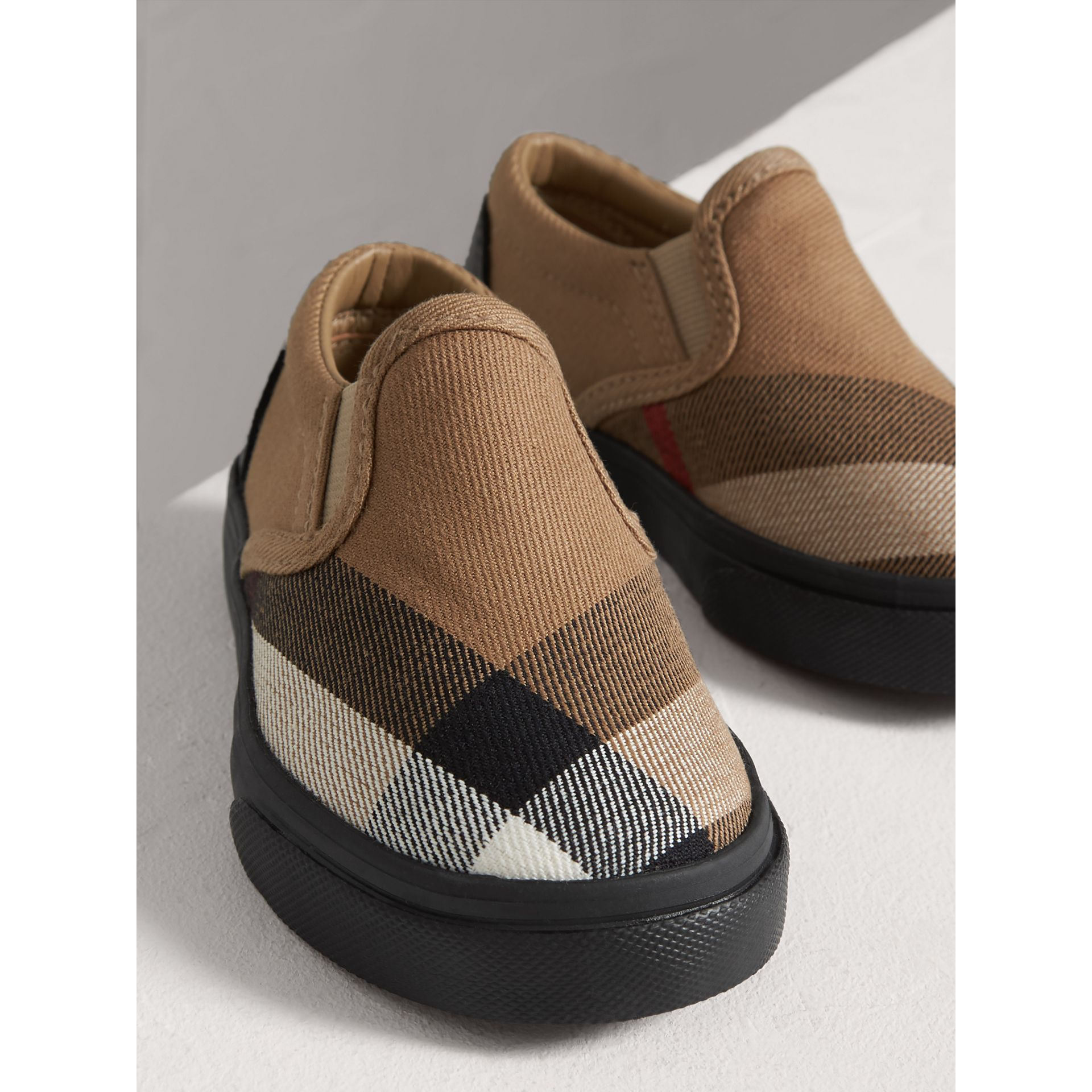 House Check and Leather Slip-on Sneakers in Classic Check/black | Burberry - gallery image 3