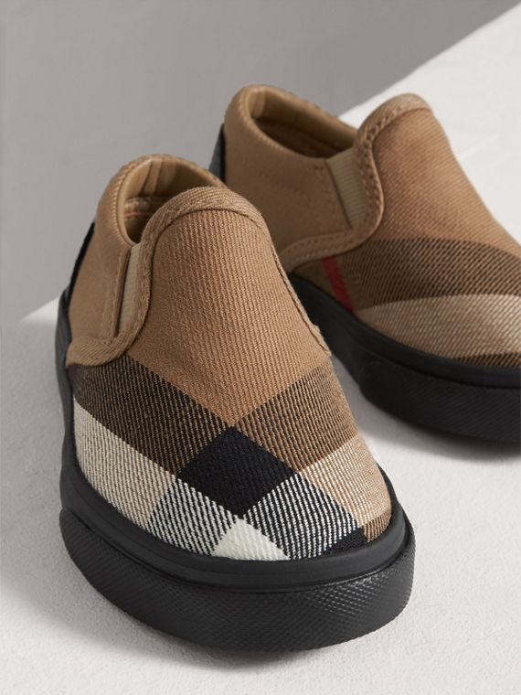 House Check and Leather Slip-on Sneakers in Classic Check/black | Burberry - cell image 3
