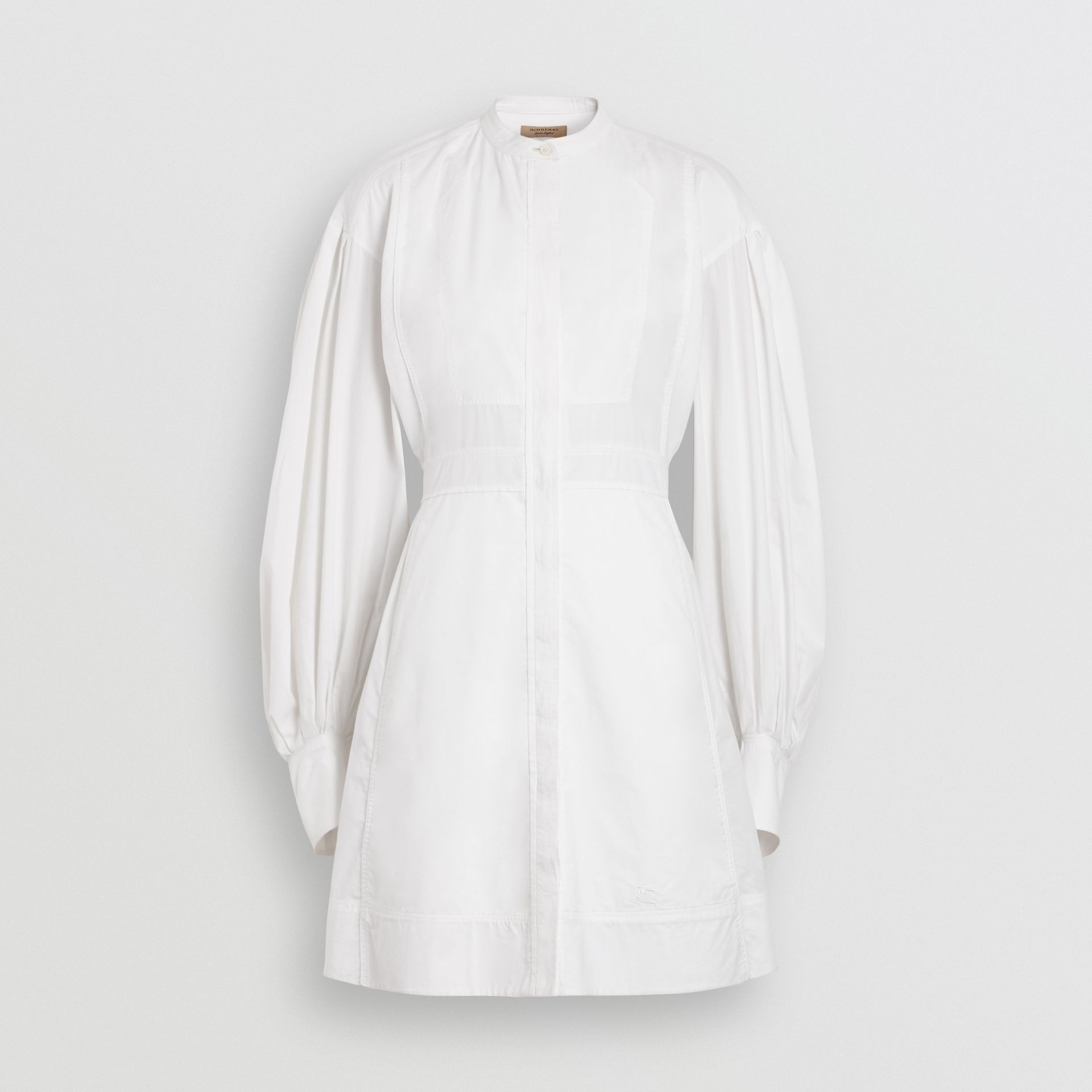 Puff-sleeve Cotton Shirt Dress in Optic White - Women | Burberry Australia - gallery image 3