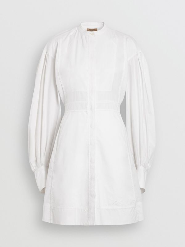 Puff-sleeve Cotton Shirt Dress in Optic White - Women | Burberry Australia - cell image 3