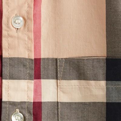 Burberry - Chemise en sergé de coton à manches courtes avec motif check - 2