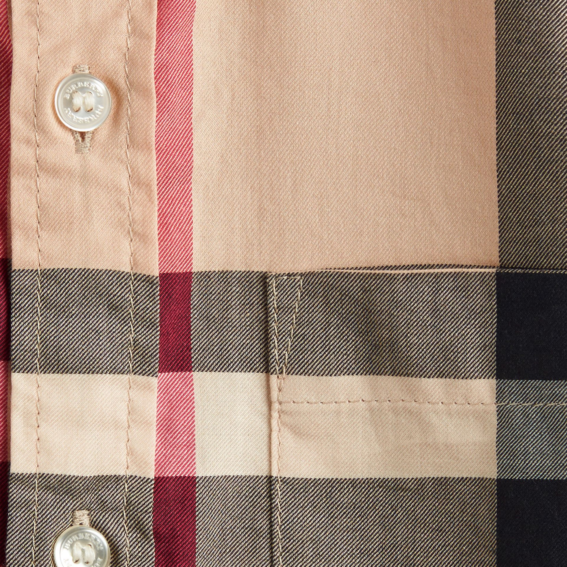 Short-sleeve Check Cotton Twill Shirt in New Classic - gallery image 2