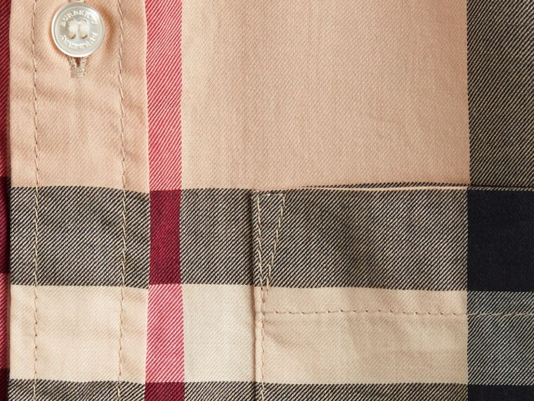 Short-sleeve Check Cotton Twill Shirt in New Classic - cell image 1