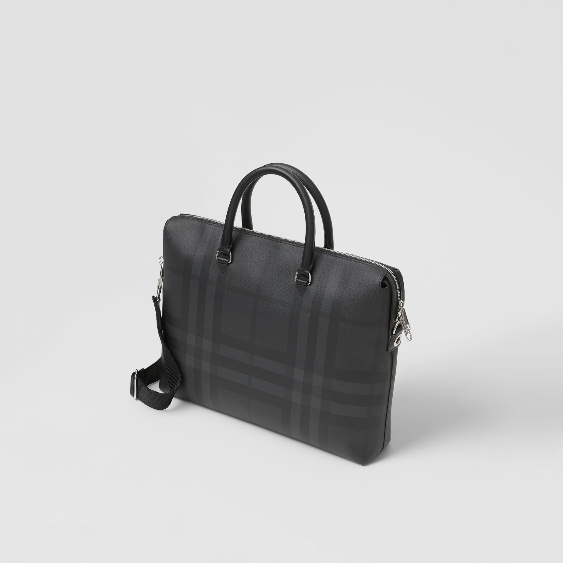 Large London Check and Leather Briefcase in Dark Charcoal - Men | Burberry - gallery image 3