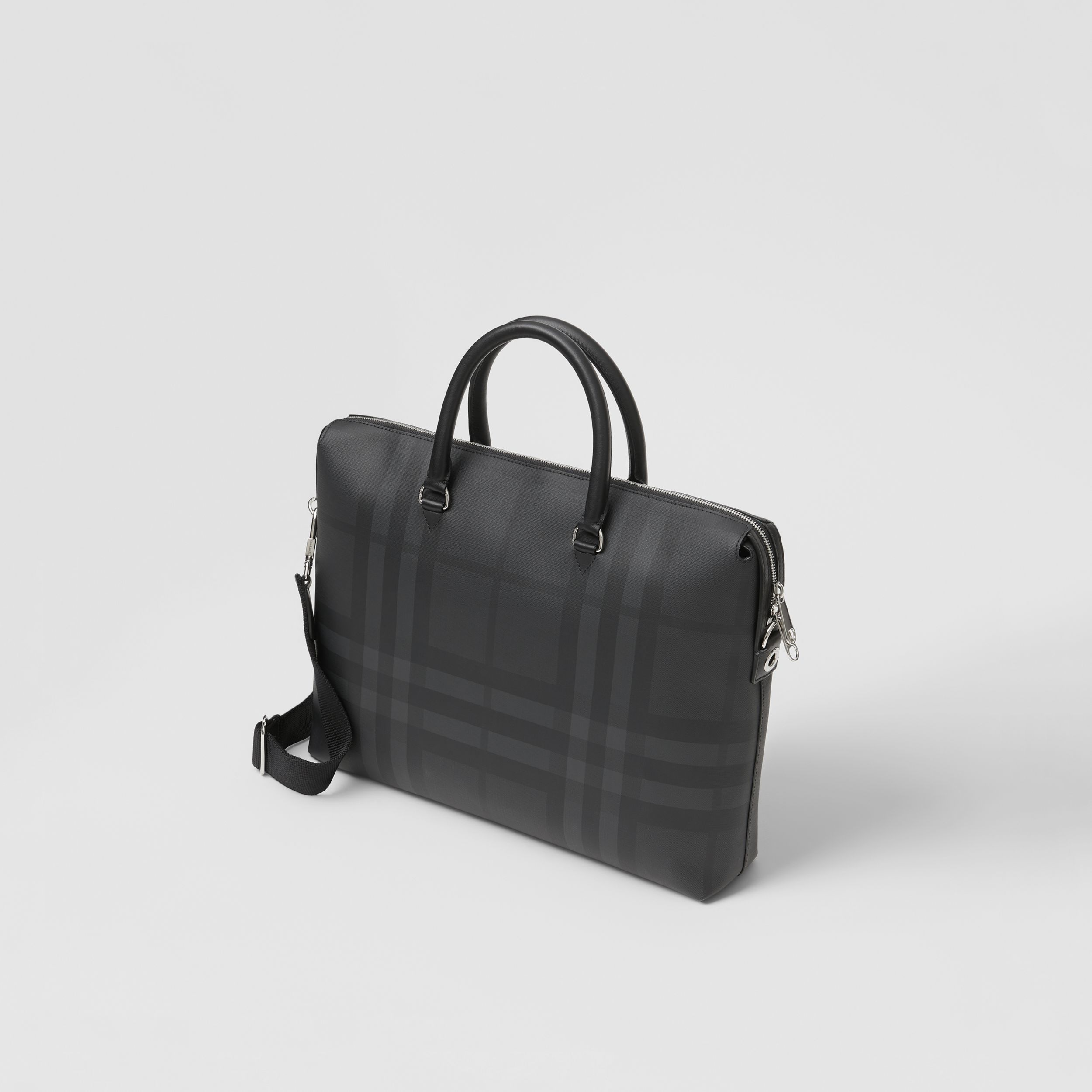 Large London Check and Leather Briefcase in Dark Charcoal - Men | Burberry - 4