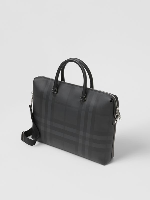 Large London Check and Leather Briefcase in Dark Charcoal - Men | Burberry - cell image 3