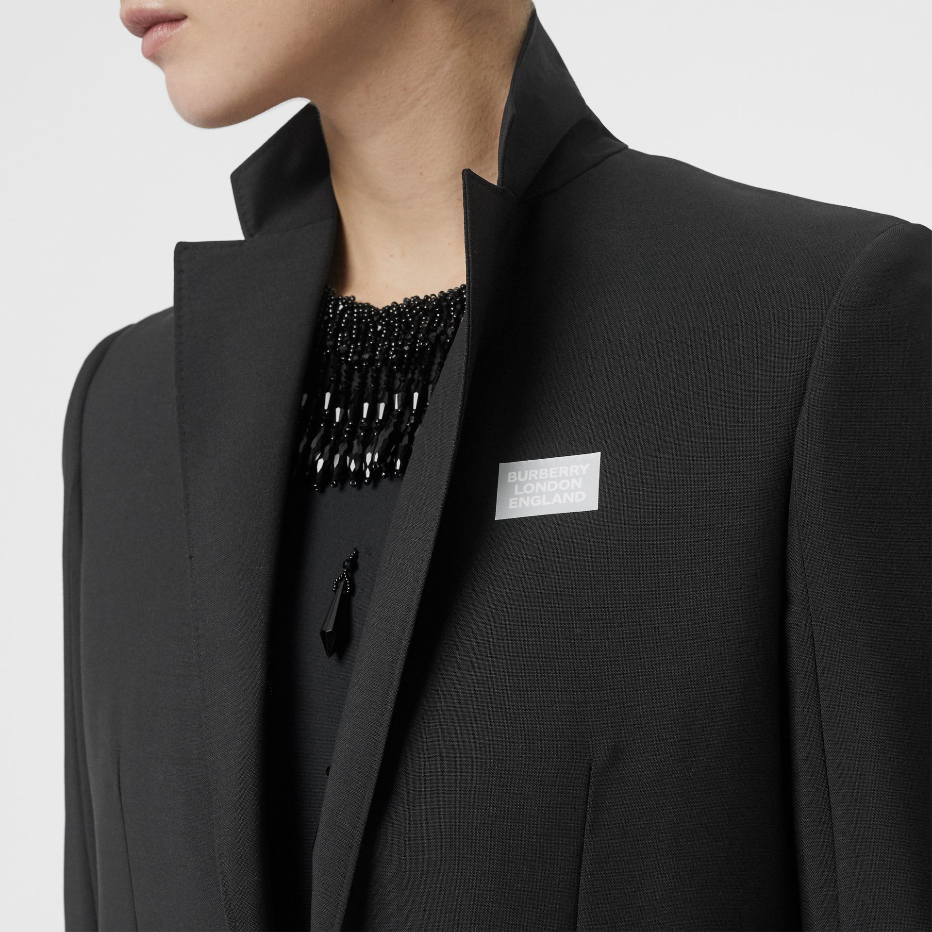 Cashmere Panel Wool Mohair Tailored Jacket in Black - Women | Burberry Canada - gallery image 1