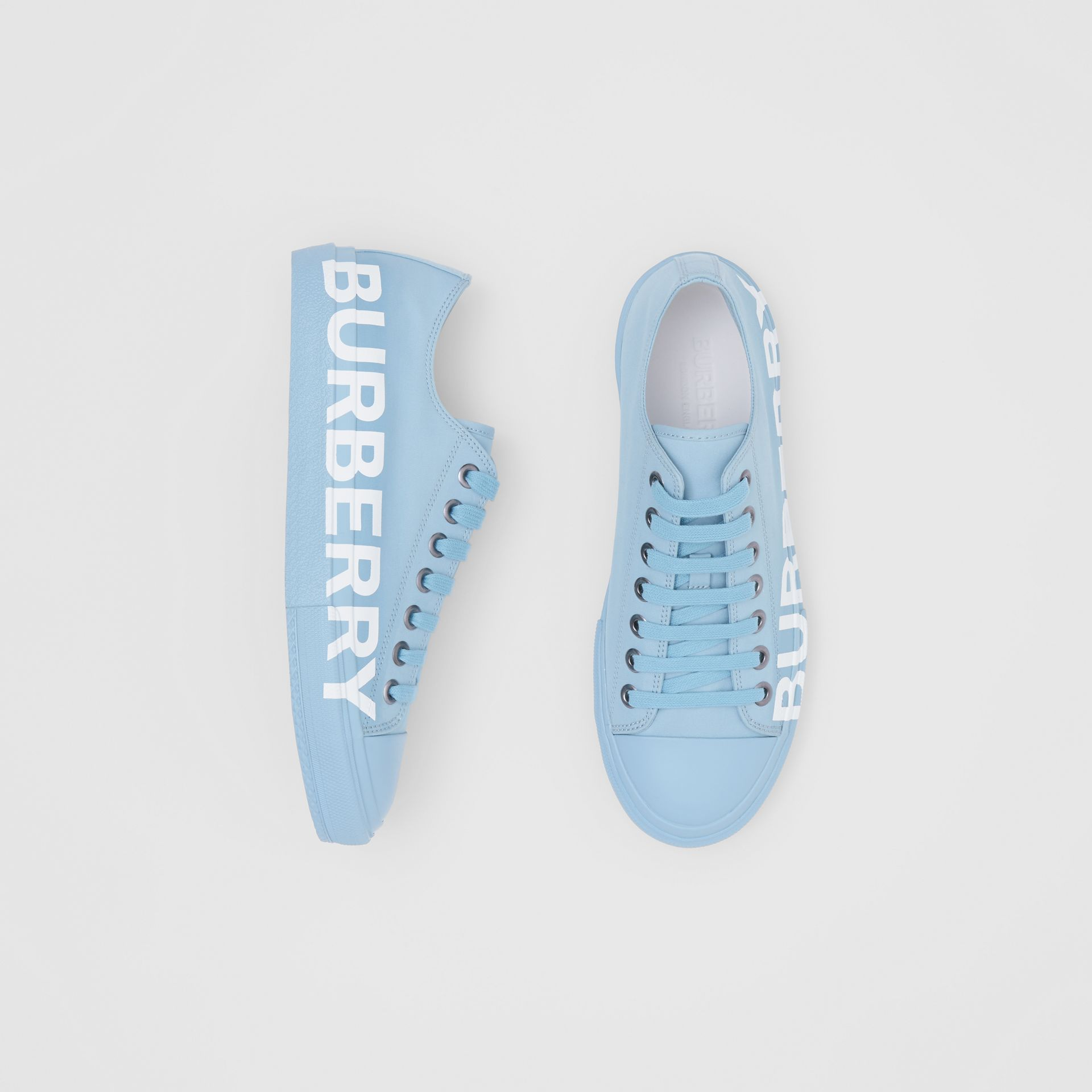 Logo Print Cotton Gabardine Sneakers in Blue Overdyed - Men | Burberry - gallery image 0