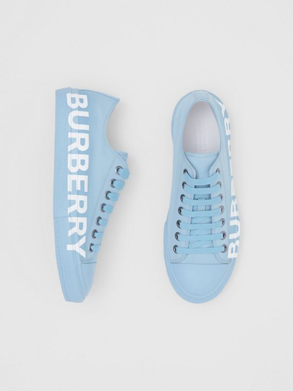 Logo Print Cotton Gabardine Sneakers in Blue Overdyed