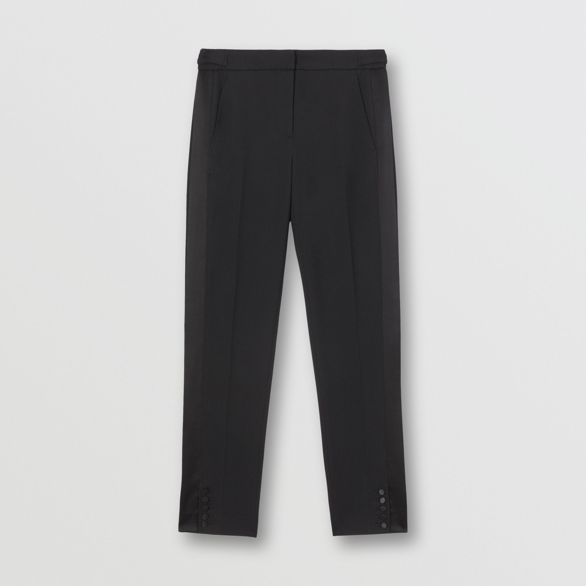 Satin Stripe Wool Tailored Trousers in Black - Women | Burberry United Kingdom - gallery image 3