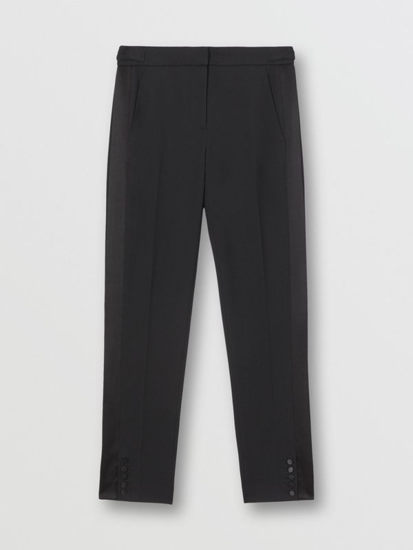 Satin Stripe Wool Tailored Trousers in Black - Women | Burberry United Kingdom - cell image 3