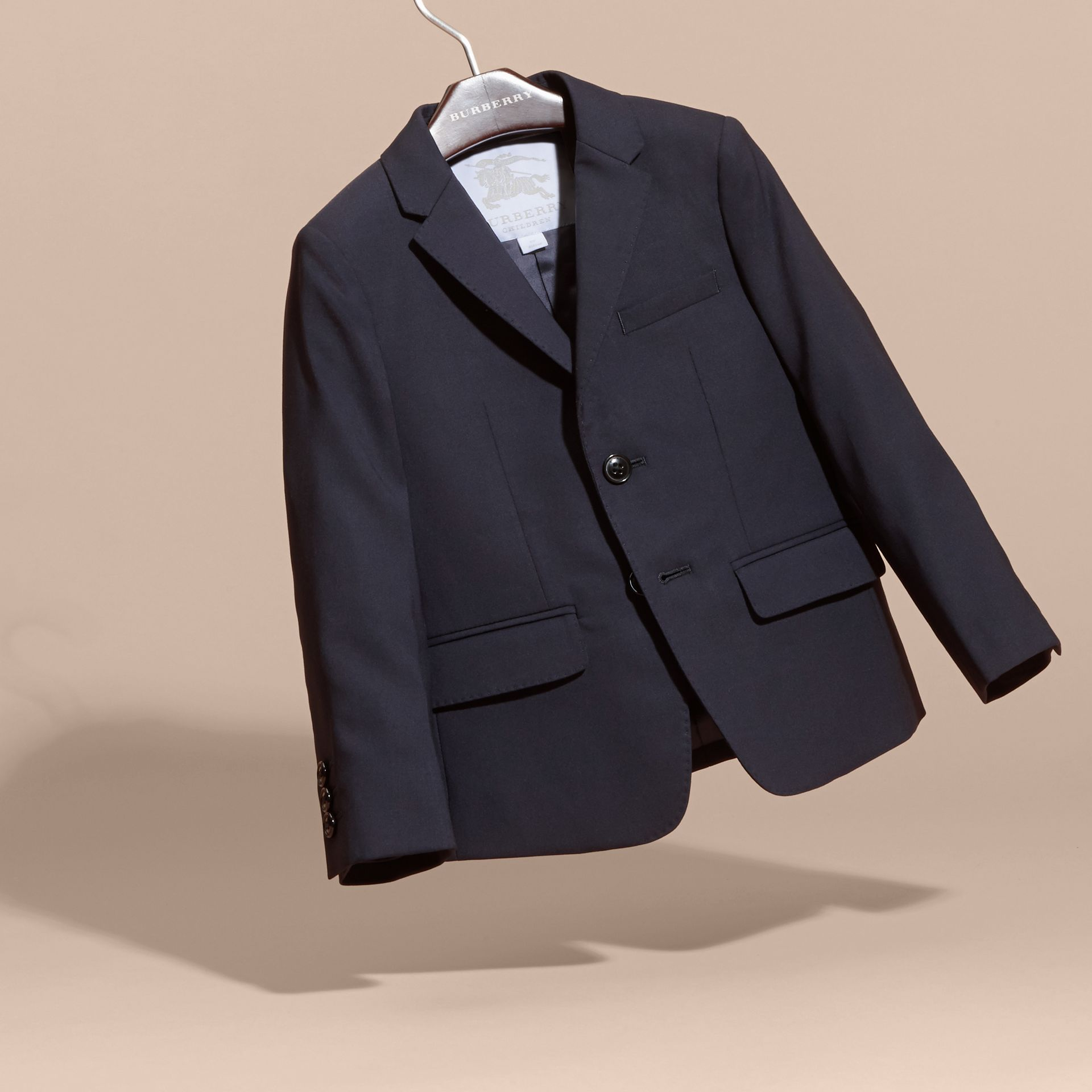 Single-breasted Wool Blazer in Navy - Boy | Burberry - gallery image 3