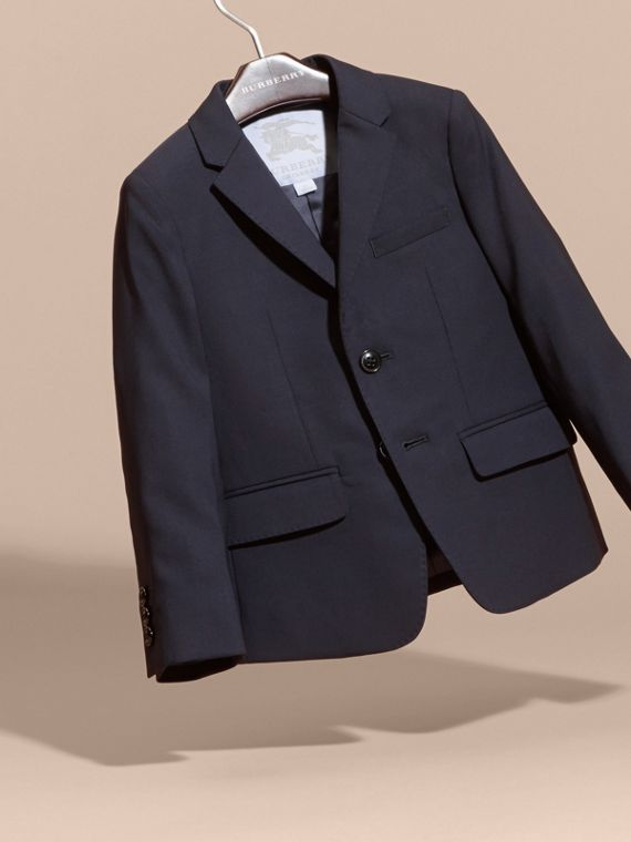 Single-breasted Wool Blazer in Navy - Boy | Burberry - cell image 2