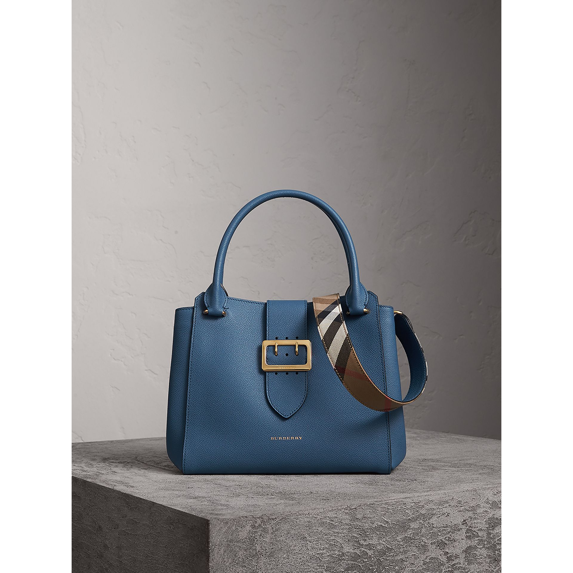 The Medium Buckle Tote in Grainy Leather in Steel Blue - Women | Burberry Australia - gallery image 1
