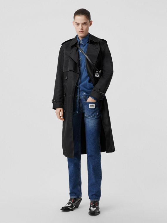 Nylon Twill Trench Coat in Black