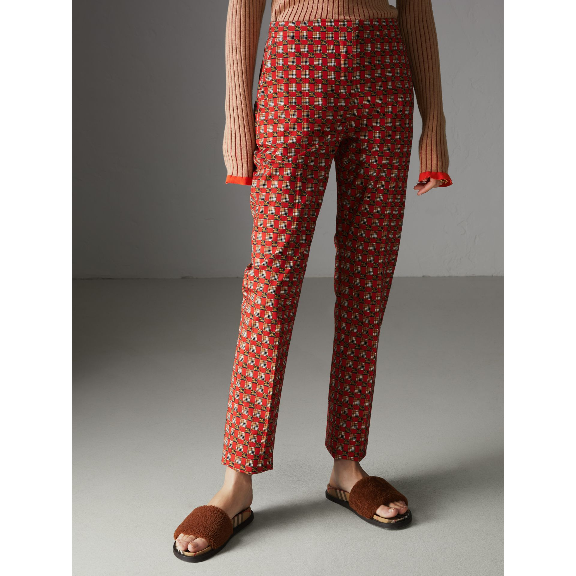 Equestrian Check Print Stretch Cotton Cigarette Trousers in Bright Red - Women | Burberry Canada - gallery image 4