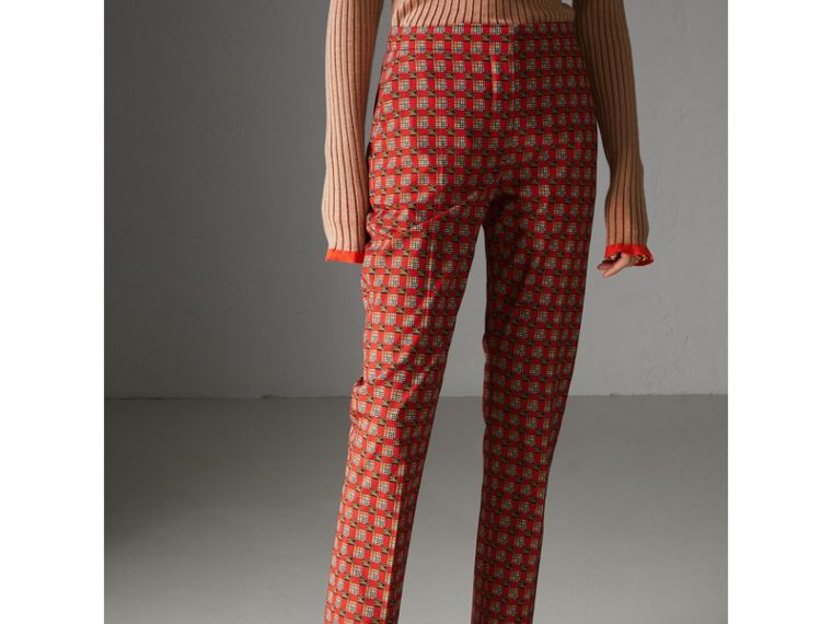 Equestrian Check Print Stretch Cotton Cigarette Trousers in Bright Red - Women | Burberry Canada - cell image 4