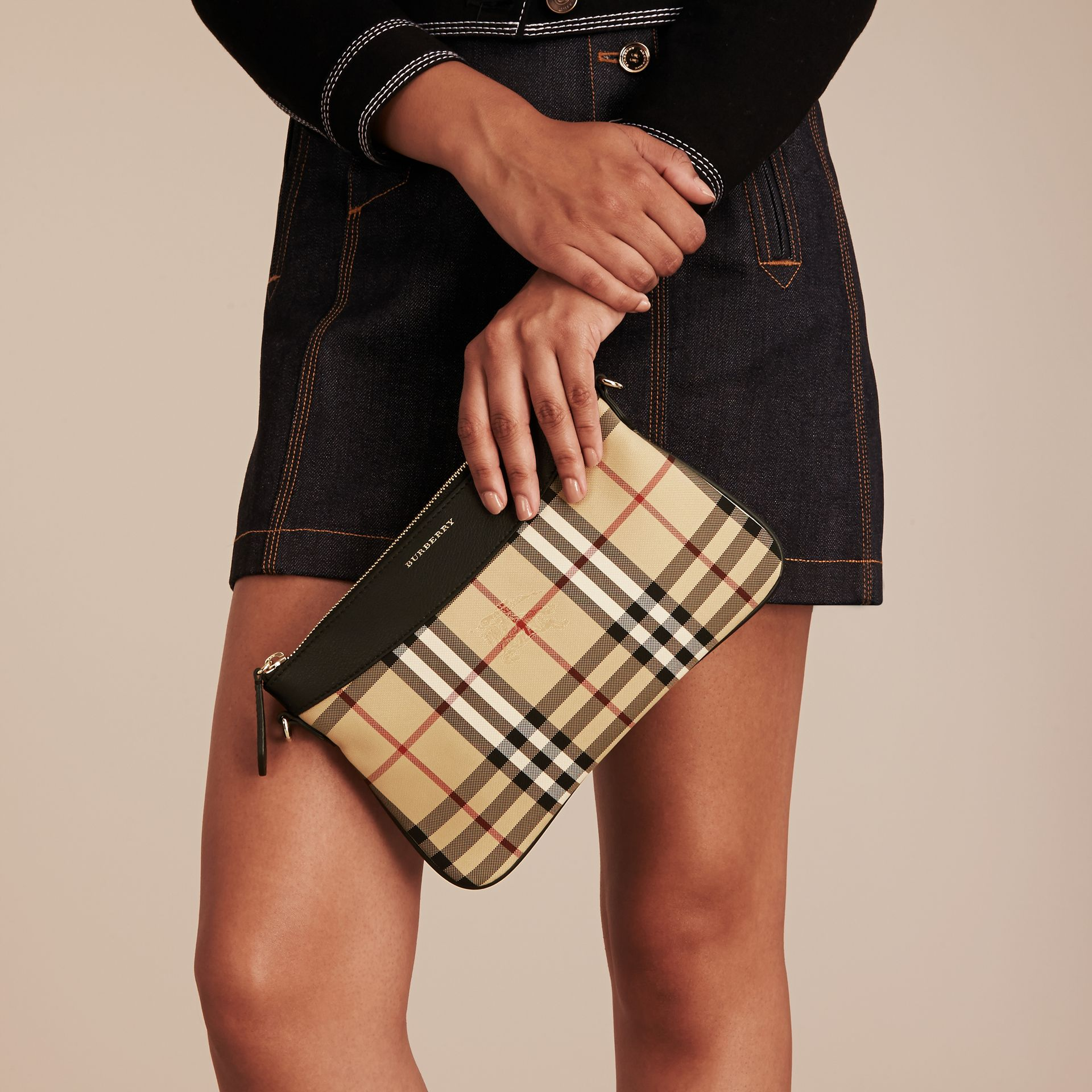 Horseferry Check and Leather Clutch Bag in Black - Women | Burberry Canada - gallery image 3