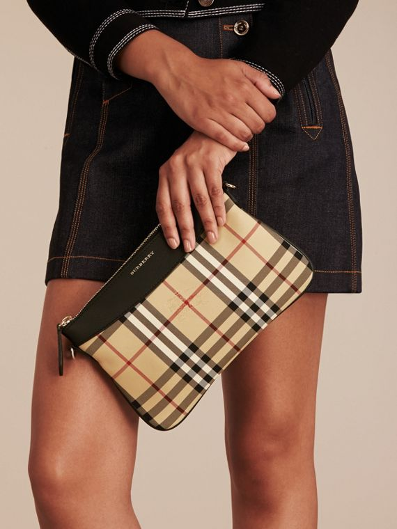 Horseferry Check and Leather Clutch Bag in Black - Women | Burberry - cell image 2