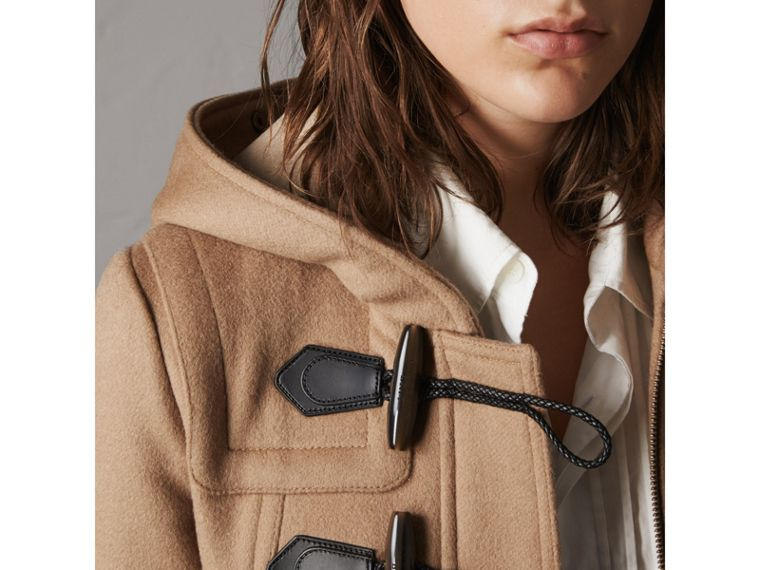 Detachable Fur Trim Wool Duffle Coat in Camel - Women | Burberry - cell image 4