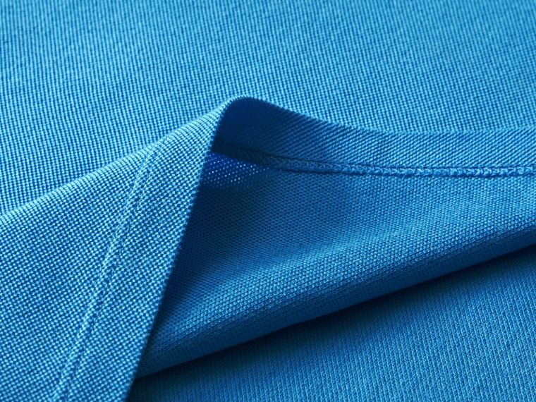 Tipped Collar Cotton Piqué Polo Shirt Chalk Blue - cell image 1