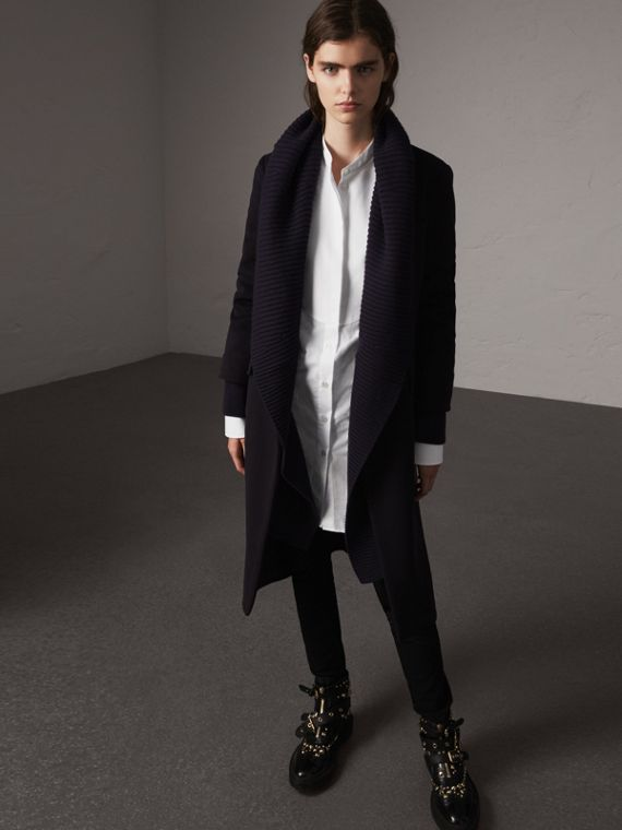 Detachable Rib Knit Collar Cashmere Coat in Navy