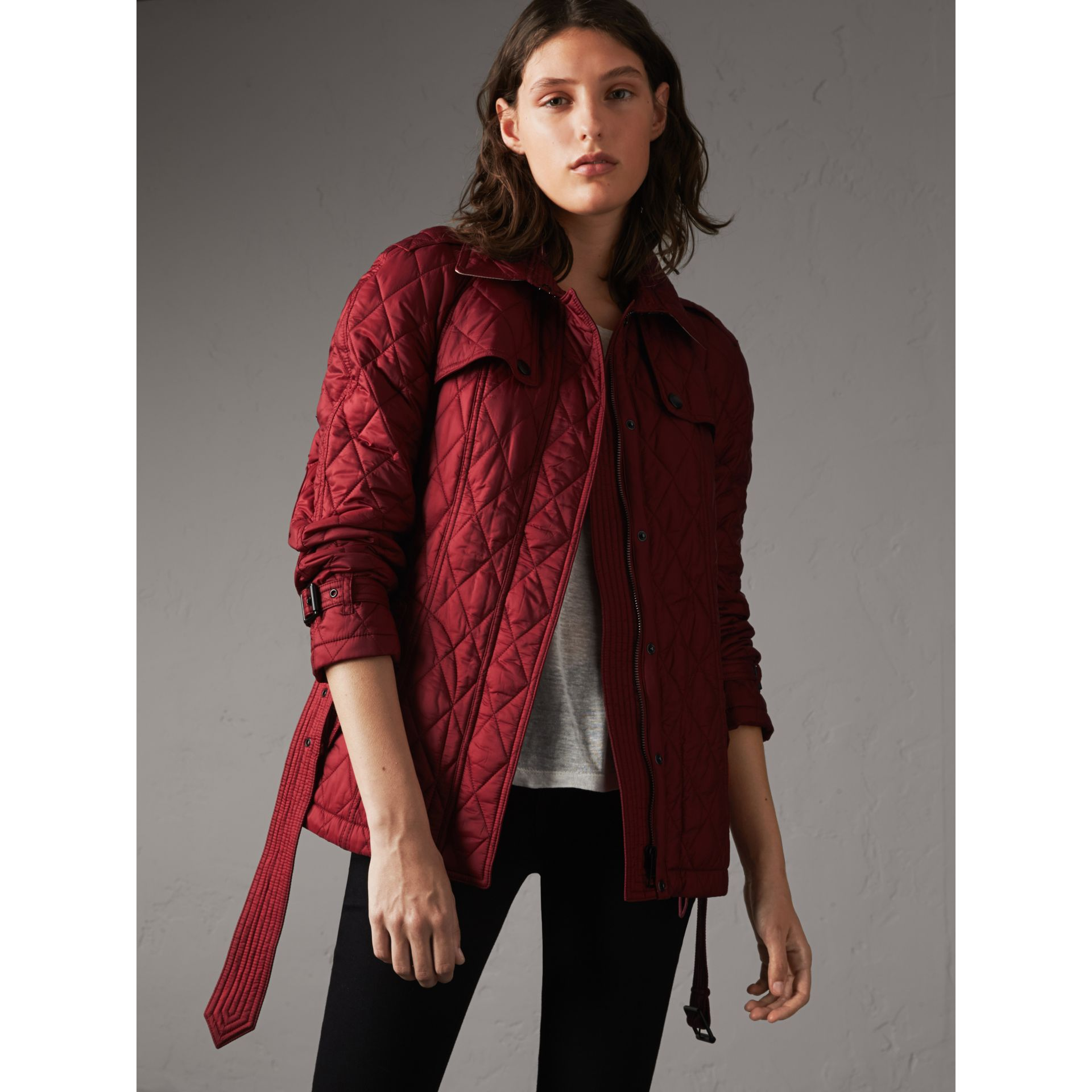 Quilted Trench Jacket with Detachable Hood in Dark Crimson - gallery image 1