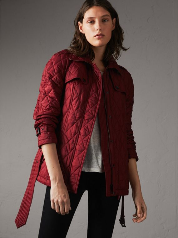Quilted Trench Jacket with Detachable Hood in Dark Crimson - Women | Burberry