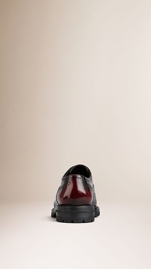 Bordeaux Leather Wingtip Brogues With Rubber Sole Bordeaux - Image 2