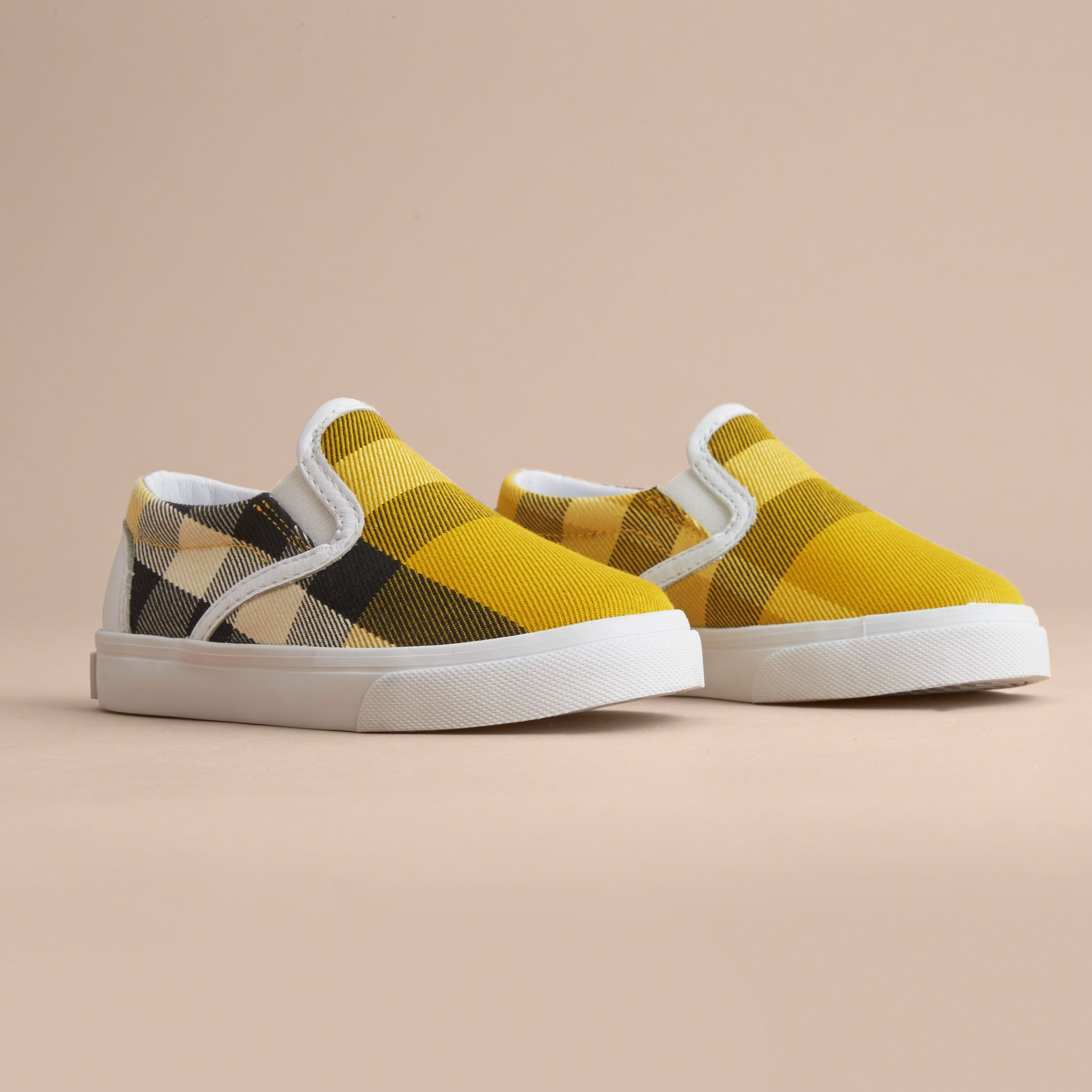 Tonal House Check and Leather Slip-on Trainers in Gorse Yellow - Children | Burberry Australia - gallery image 3