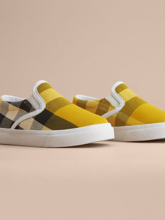 Tonal House Check and Leather Slip-on Trainers in Gorse Yellow - Children | Burberry Australia - cell image 2