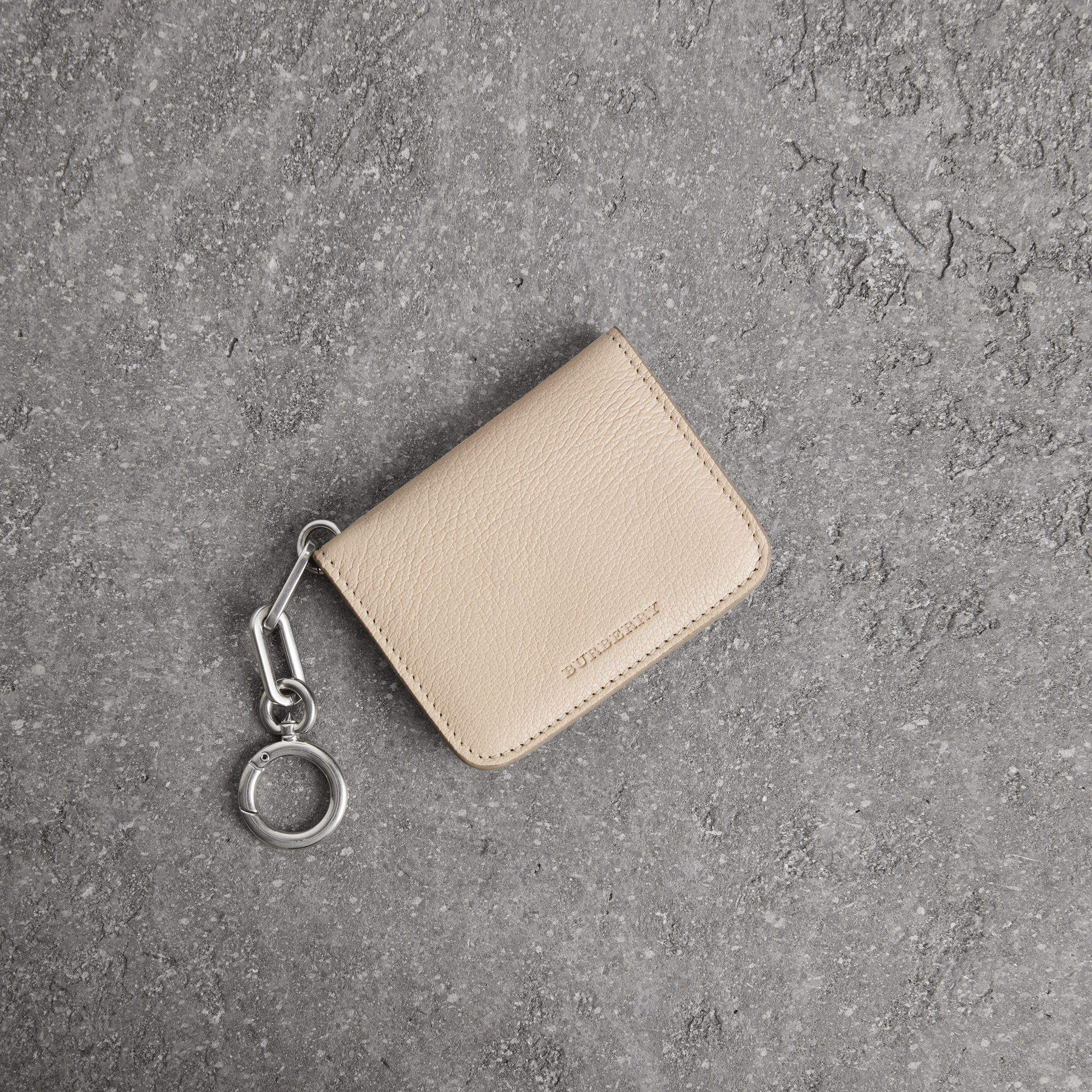 Link Detail Leather ID Card Case Charm in Stone | Burberry United States - gallery image 0