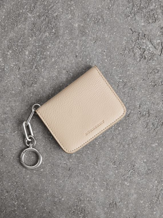 Link Detail Leather ID Card Case Charm in Stone