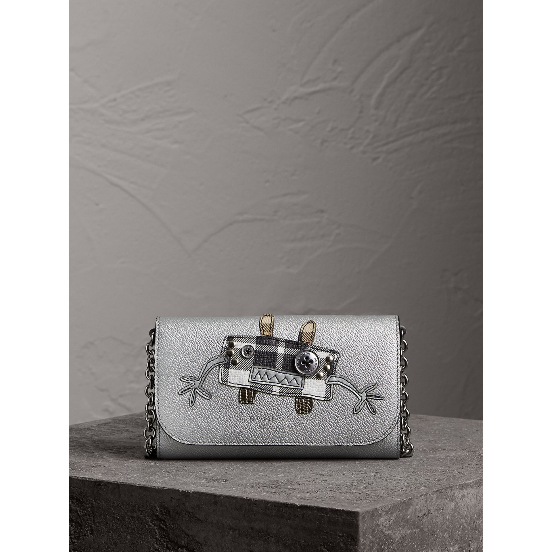 Creature Appliqué Metallic Leather Wallet with Chain in Silver/multicolour - Women | Burberry - gallery image 5
