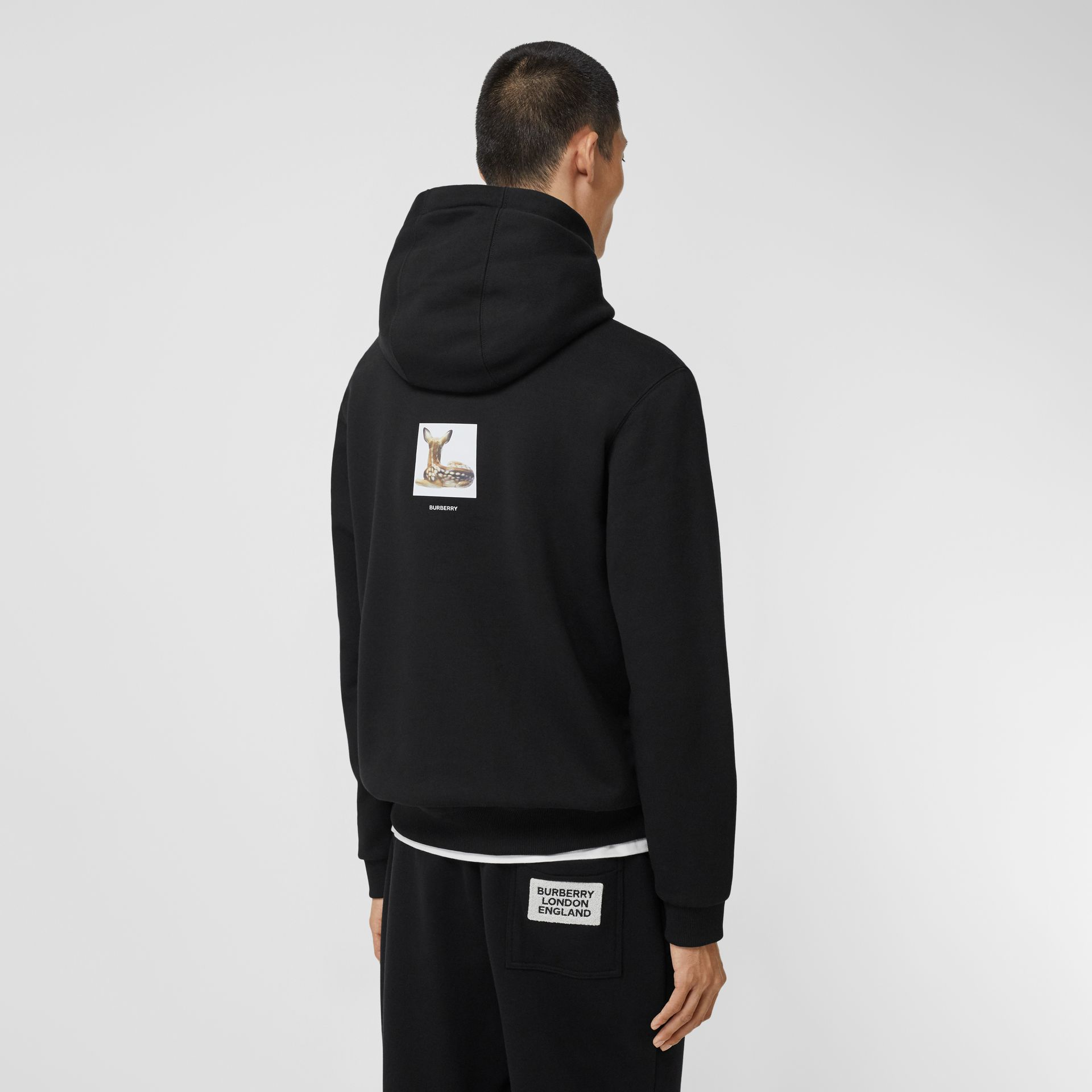 Deer Print Cotton Hoodie in Black - Men | Burberry Singapore - gallery image 2